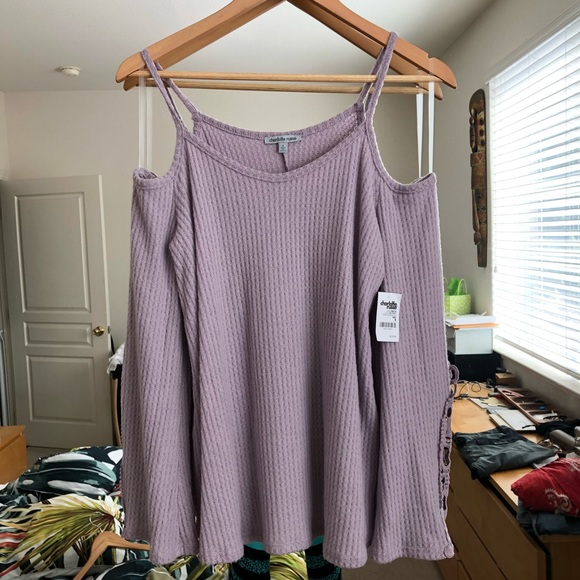 Charlotte Russe Tops - Lilac Cold Shoulder Top